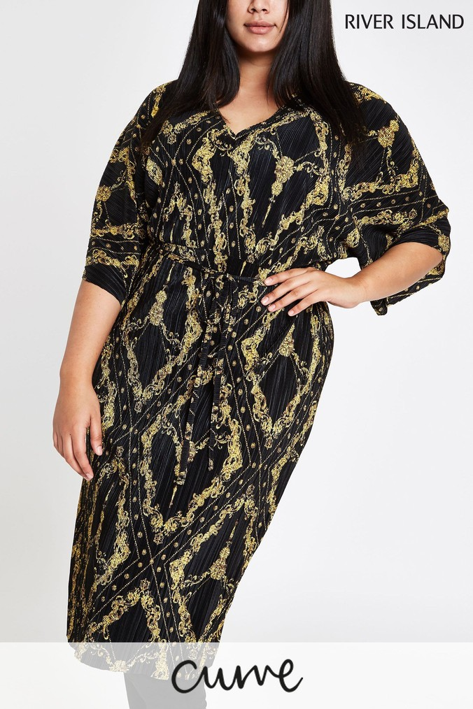 womens river island curve black chain print plisse dress -  black