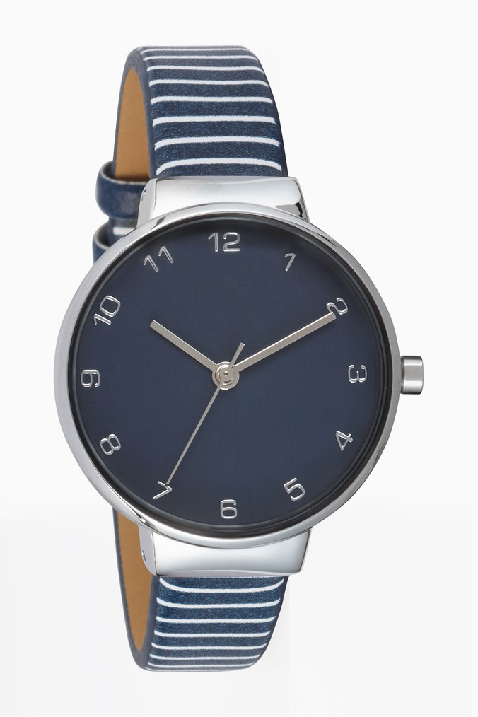 Womens Next Navy Stripe Watch -  Blue