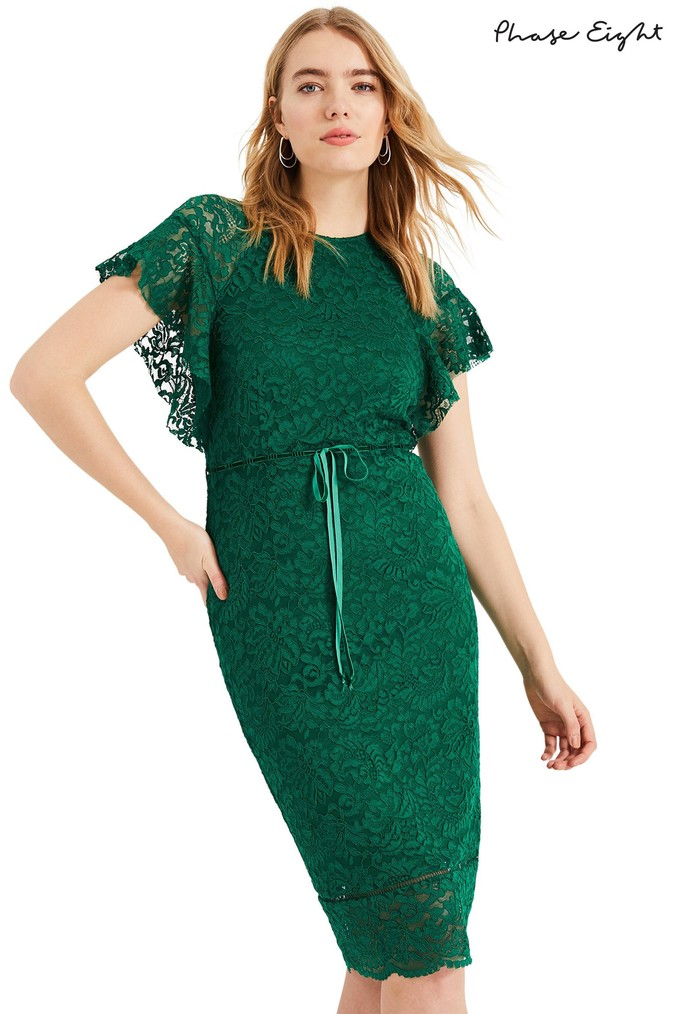 Womens Phase Eight Green Ninette Frill Sleeve Lace Dress -  Green