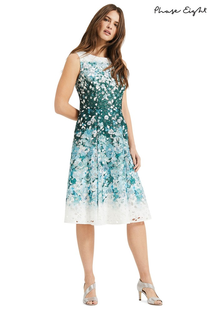 Womens Phase Eight Green Angela Lace Dress -  Green