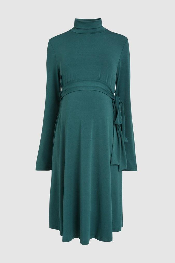 Womens Next Green Maternity Belted Dress -  Green