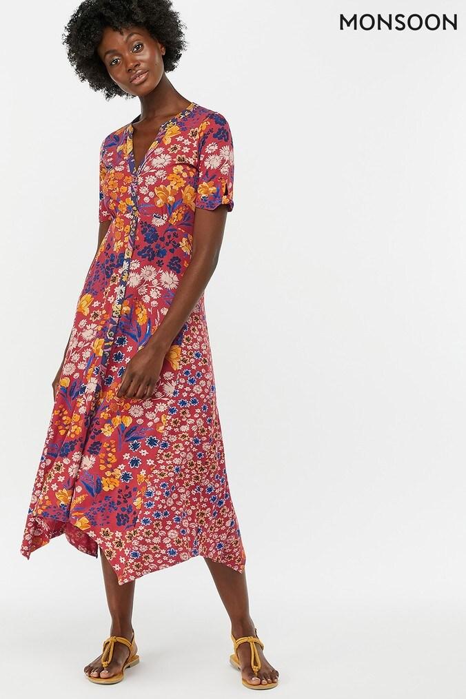 Womens Monsoon Ladies Red Josie Print Hanky Hem Midi Dress -  Red