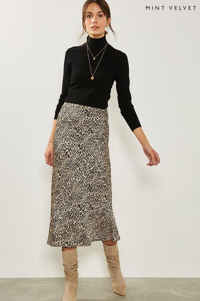 Womens Mint Velvet Natural Philipa Satin Slip Skirt -  Natural