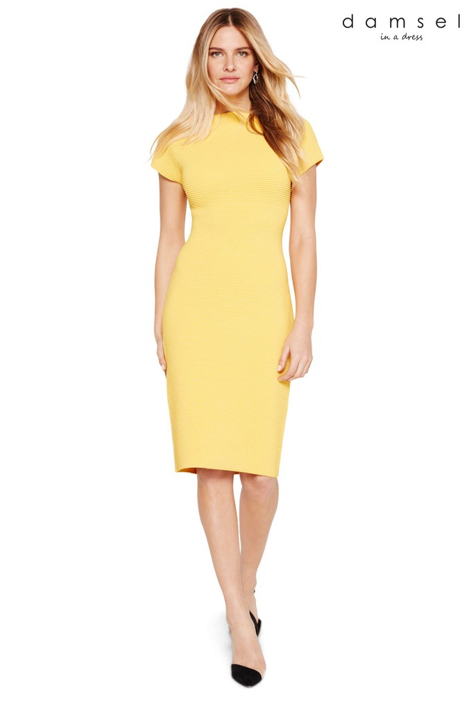 Womens Damsel In A Dress Yellow Mandy Ripple Dress -  Yellow