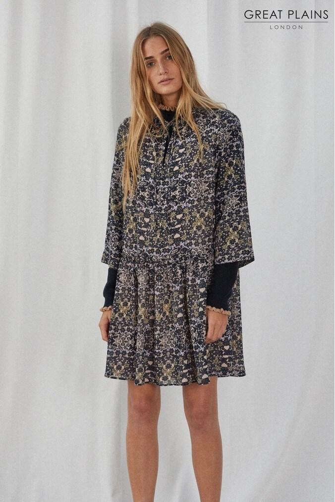Womens Great Plains Blue Speckled Flower Dress -  Blue