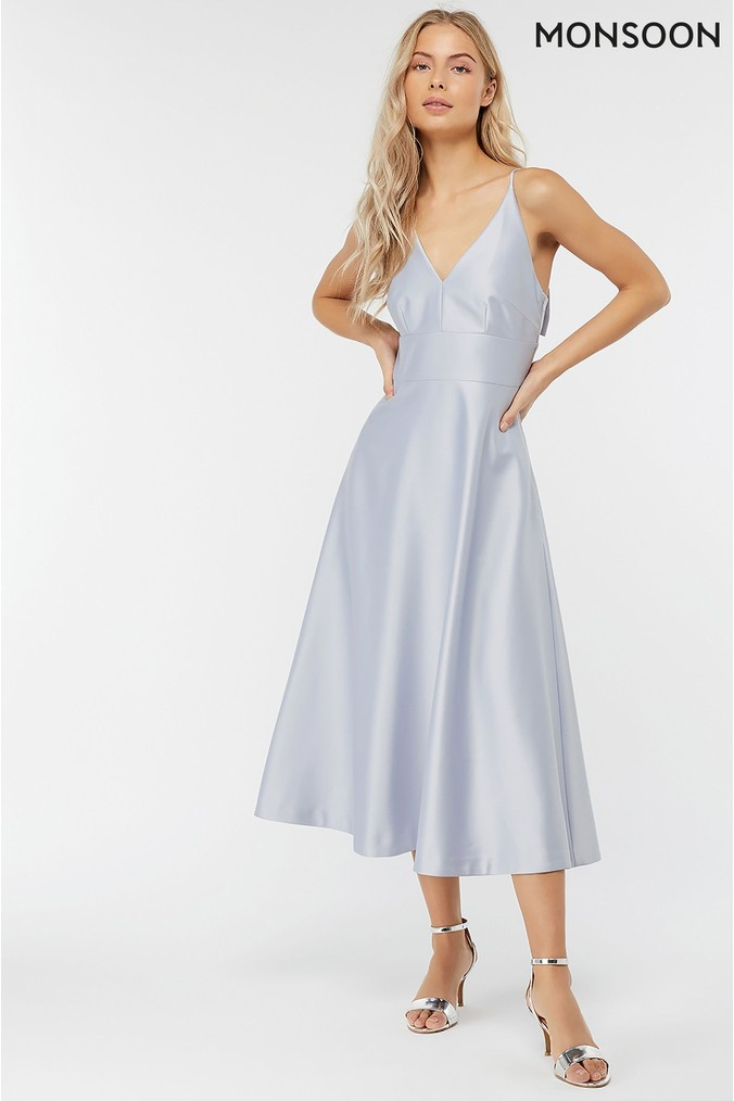 Womens Monsoon Blue Abbey Satin Bow Midi Dress -  Blue