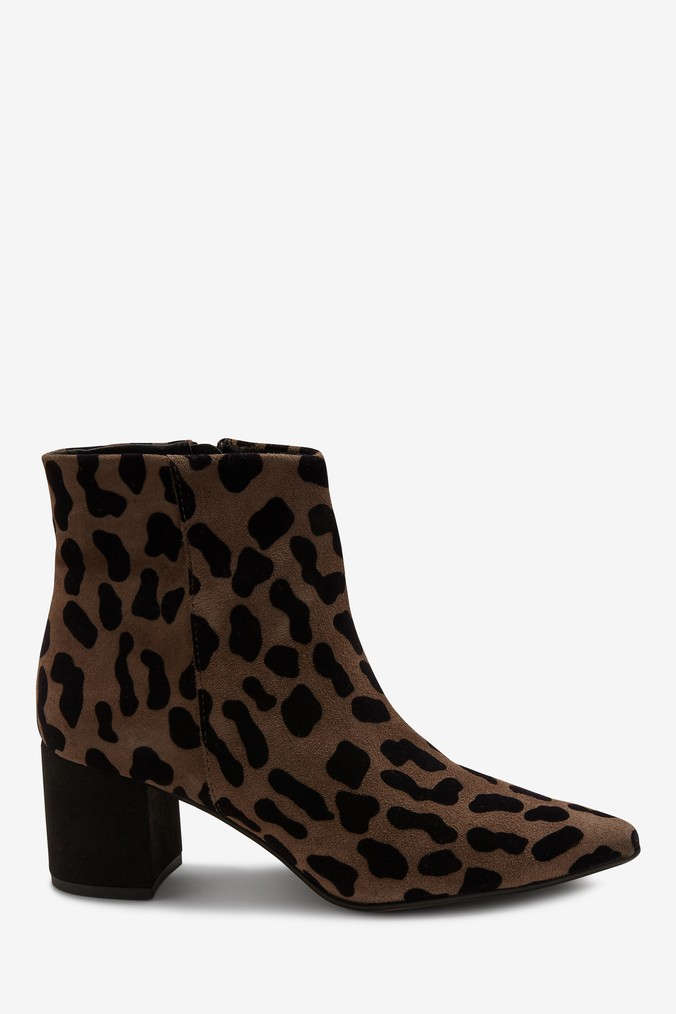 ff681a070e8d Womens Next Taupe Animal Print Signature Comfort Leather Heeled Ankle Boots  - Animal