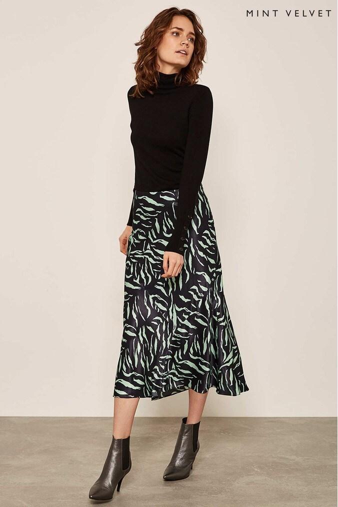 Womens Mint Velvet Multi Nadine Print Satin Slip Skirt -  Green
