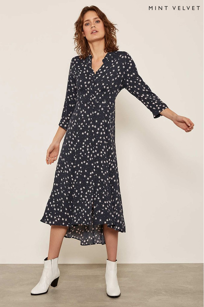 Womens Mint Velvet Black Star Print Shirt Dress -  Black