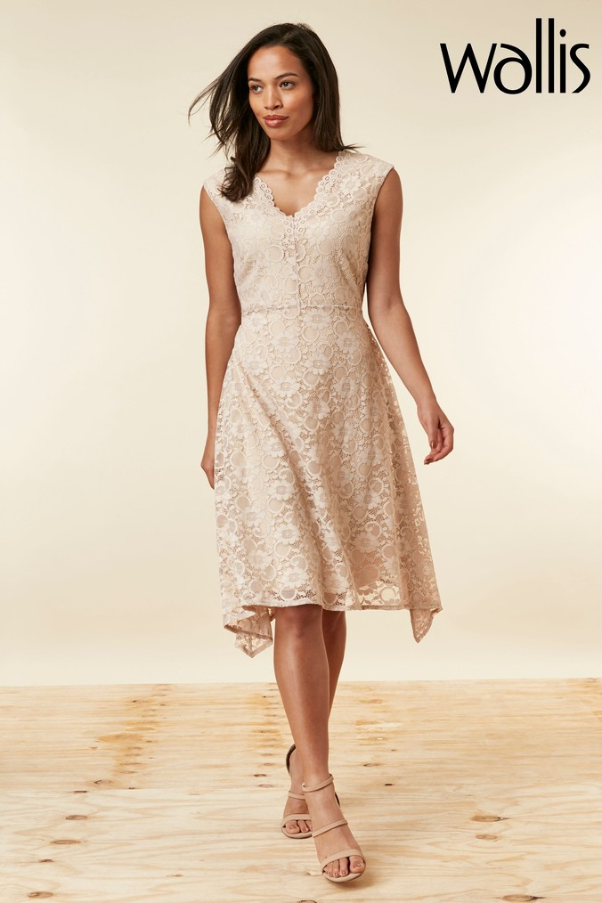 Womens Wallis Natural Mink Lace Hanky Hem Dress -  Natural
