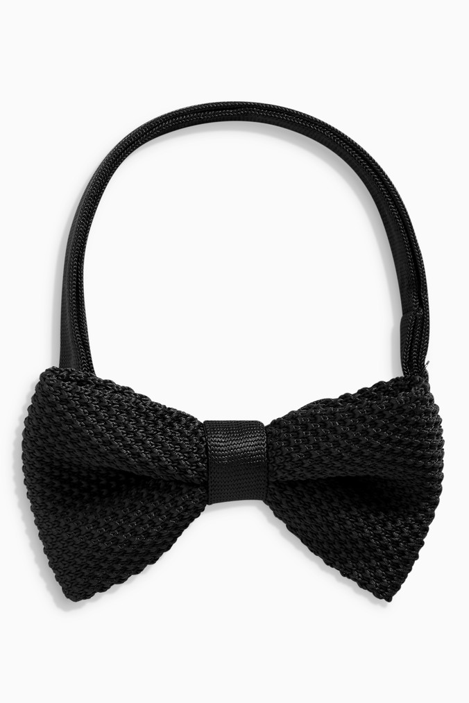 Mens Next Black Knitted Bow Tie -  Black