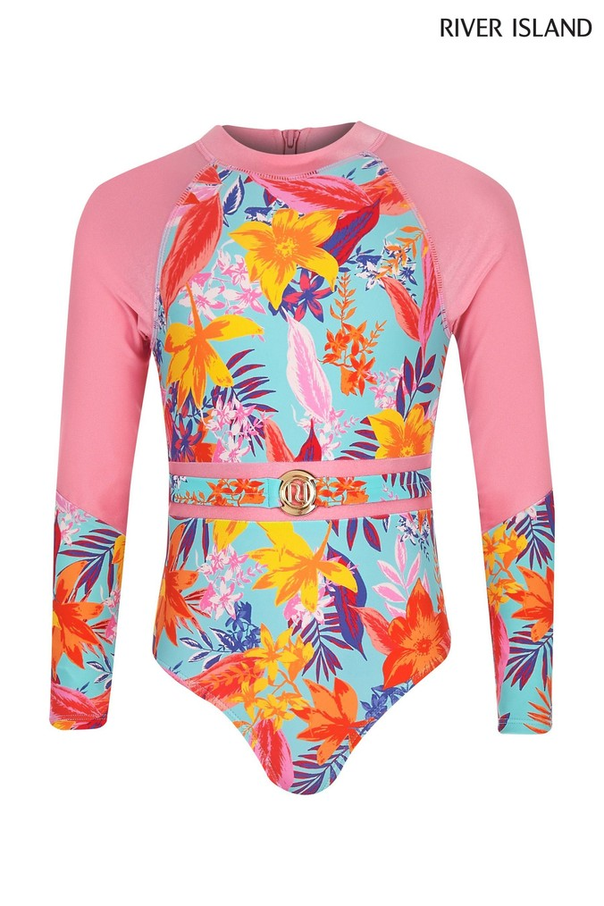 Girls River Island Tropical Long Sleeve Swimsuit -  Pink