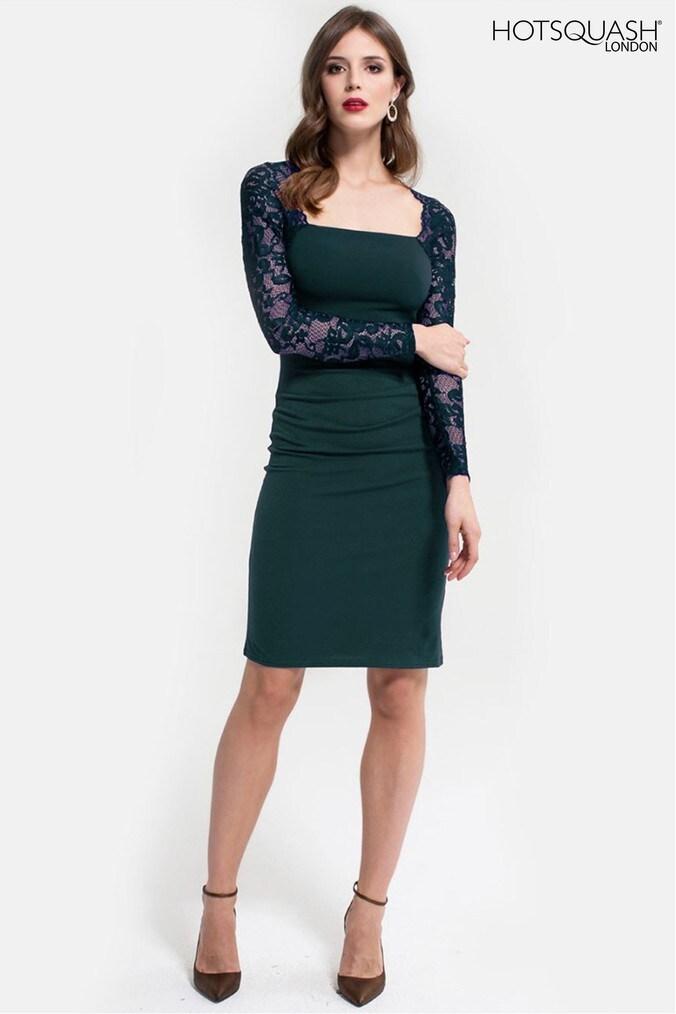 Womens HotSquash Bottle Green Lace Sleeve Hostess Dress -  Green