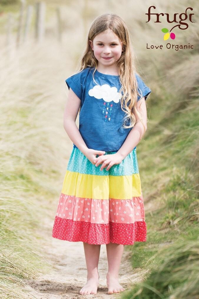Girls Frugi Organic Blue Rainbow Tiered Summer Full Skirt -  Blue