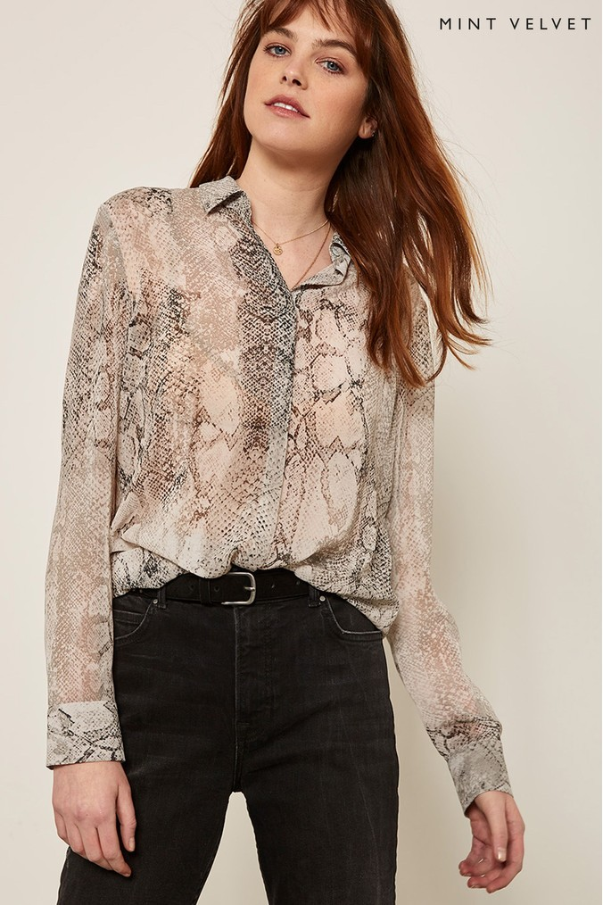 1cf732c1f55540 Womens Mint Velvet Sasha Snake Print Blouse - Natural