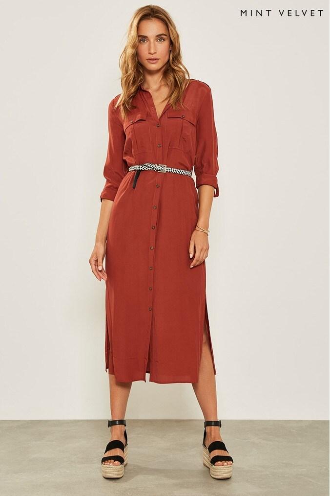 Womens Mint Velvet Orange Rust Utility Satin Shirt Dress -  Orange