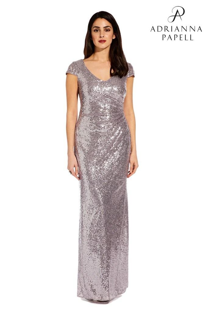 Womens Adrianna Papell Grey Cap Sleeve Sequin Dress -  Grey