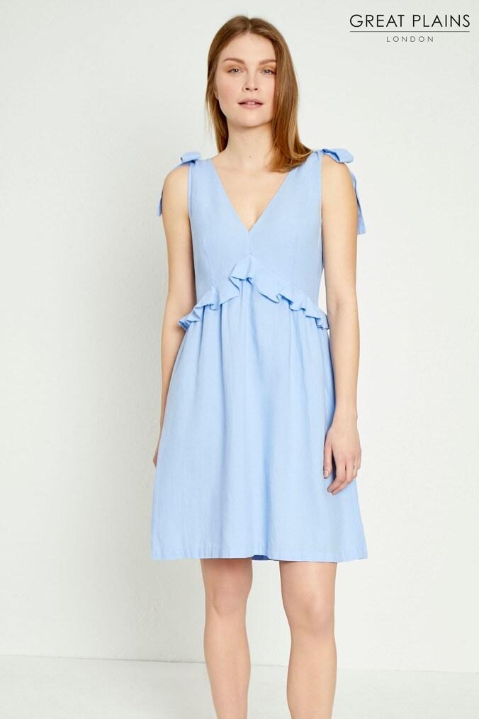 Womens Great Plains Blue Safi Linen Midi Dress -  Blue