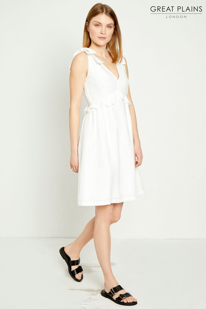 Womens Great Plains White Safi Linen Midi Dress -  White