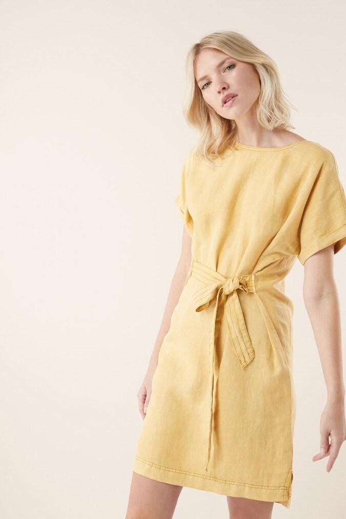 Womens Next Yellow Linen T-Shirt Dress -  Yellow