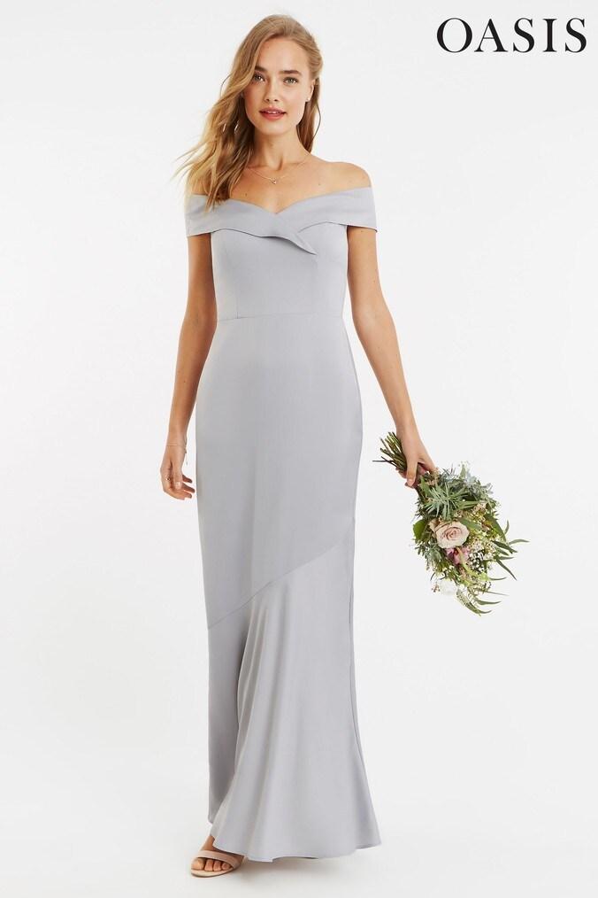 Womens Oasis Grey Bardot Slinky Maxi Dress -  Grey