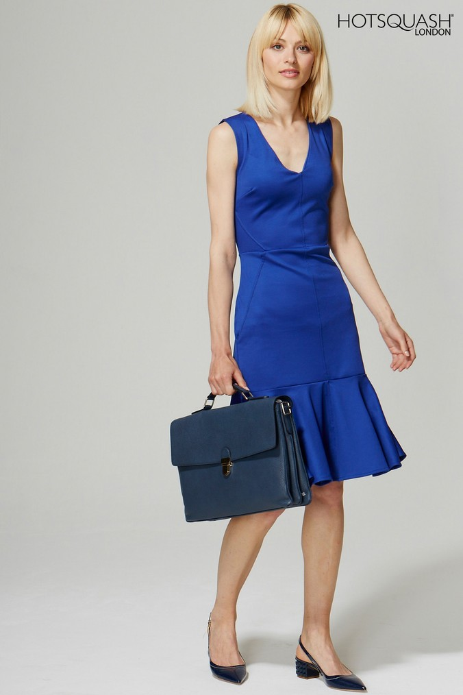 Womens HotSquash Royal Blue V-Neck Drop Waist Ponte Dress -  Blue