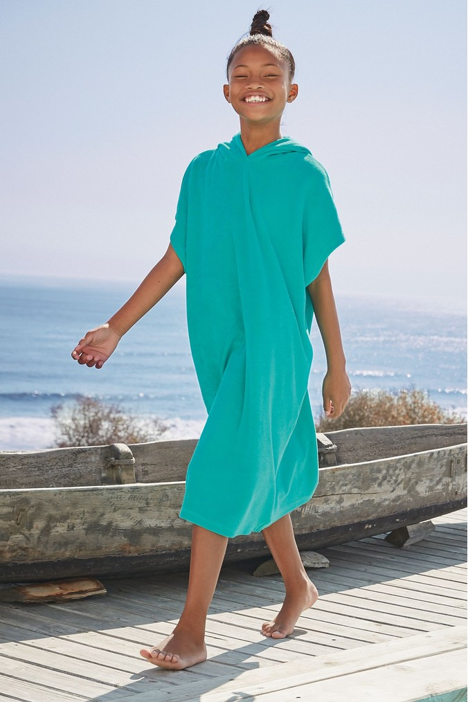 Girls Next Turquoise Towelling Poncho Dress (3-16yrs) -  Green