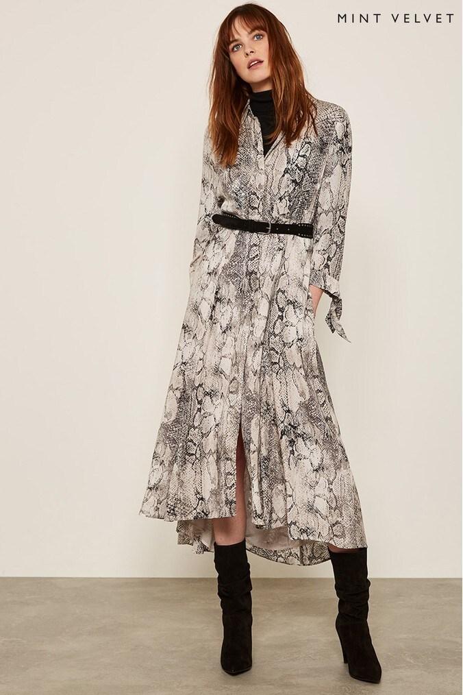 Womens Mint Velvet Sasha Snake Print Shirt Dress -  Natural