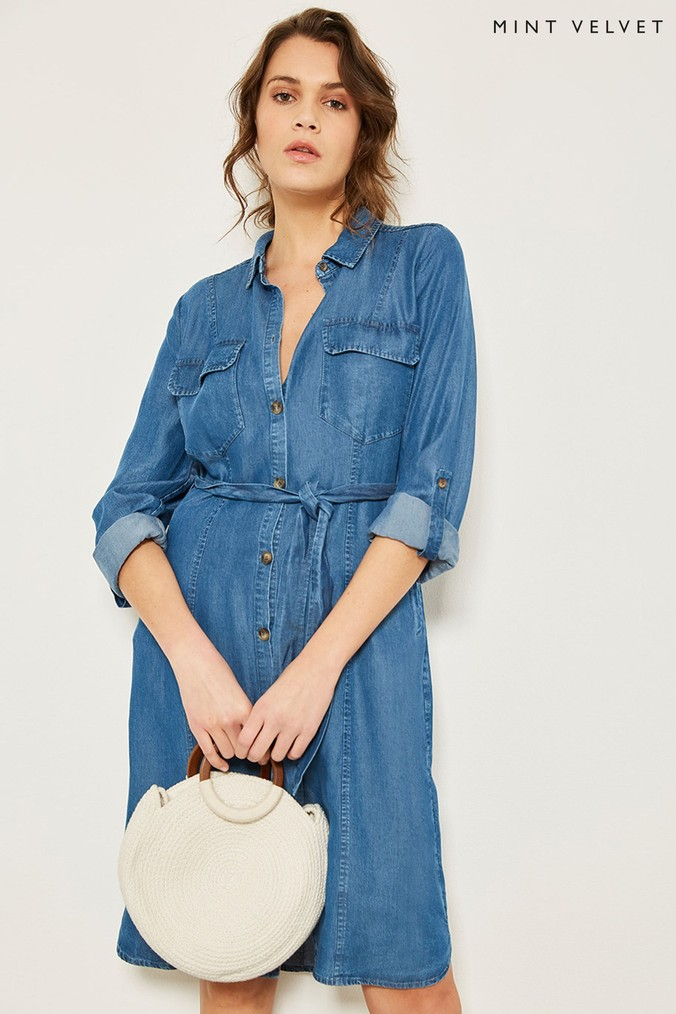 Womens Mint Velvet Blue Belted Chambray Shirt Dress -  Blue