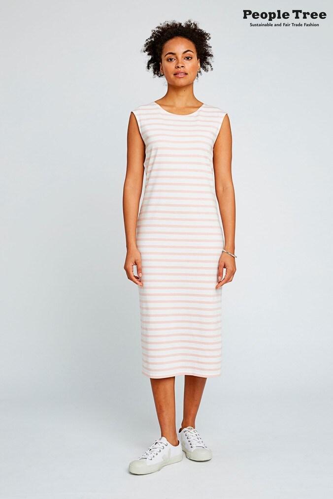 Womens People Tree Pink Organic Cotton Amelia Stripe Dress -  Pink