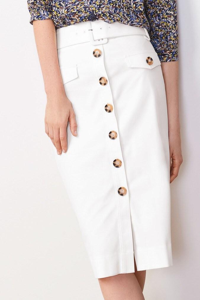 Womens Next White Button Pencil Skirt -  White