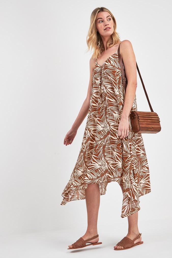 Womens Next Sand Palm Print Floaty Cami Dress -  Brown