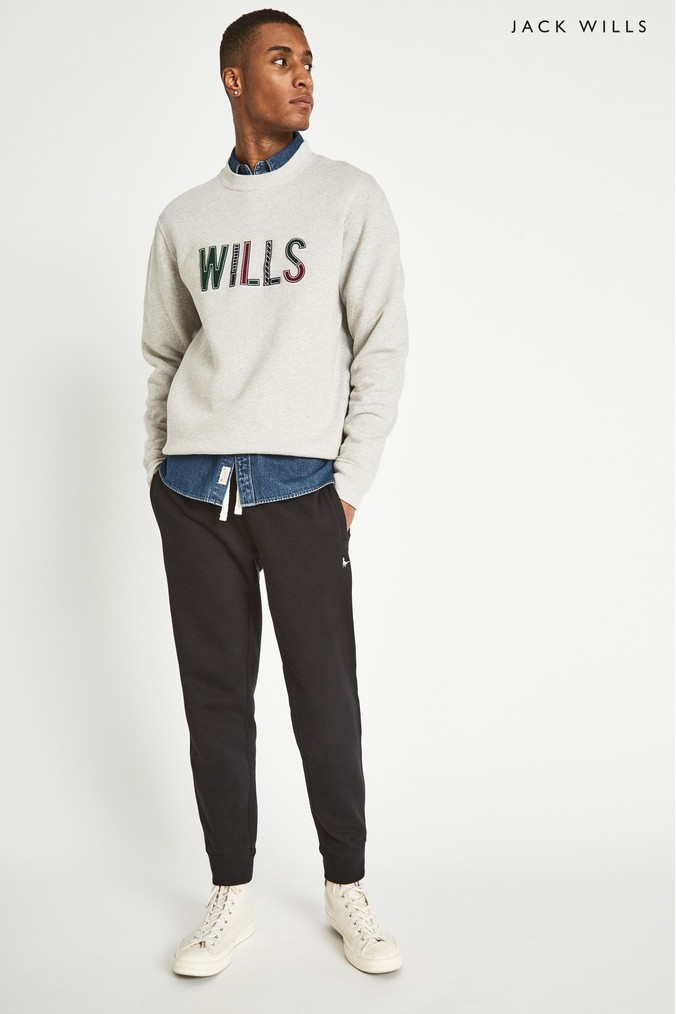 f867c1735dc Mens Jack Wills Black Haydor Pheasant Sweatpant - Black