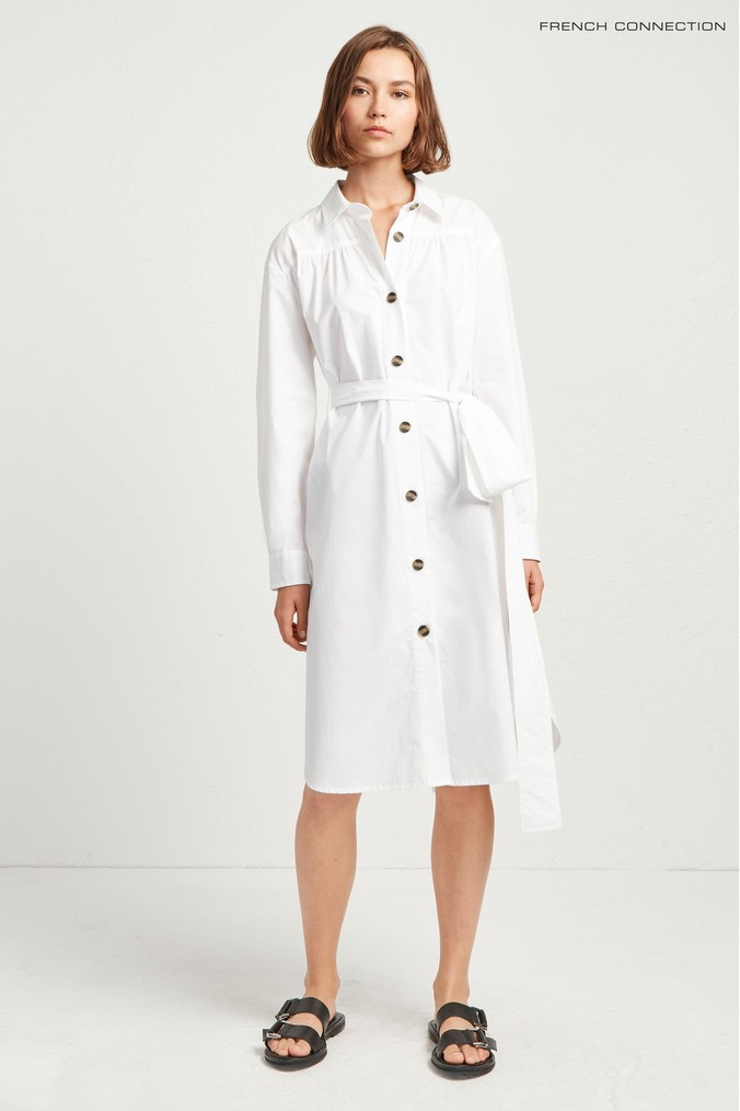Womens French Connection White Southside Cotton Belted Shirt Dress -  White
