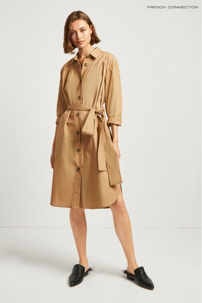 Womens French Connection Brown Southside Cotton Belted Shirt Dress -  Brown
