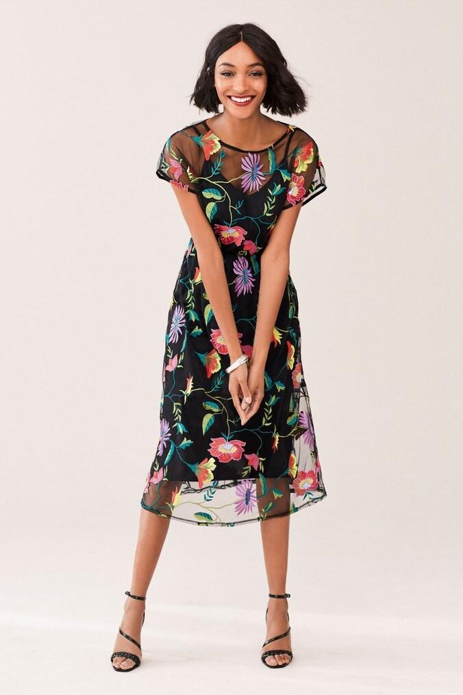 Womens Next Black Floral Embroidered Mesh Midi Dress -  Black