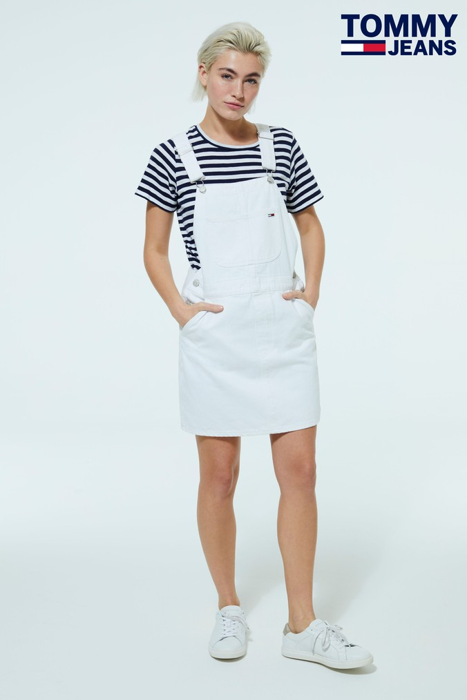 Womens Tommy Jeans Classic Dungaree Dress -  White