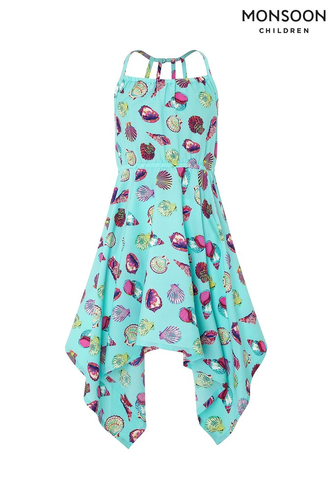 Girls Monsoon Turquoise Sandy Dress -  Blue