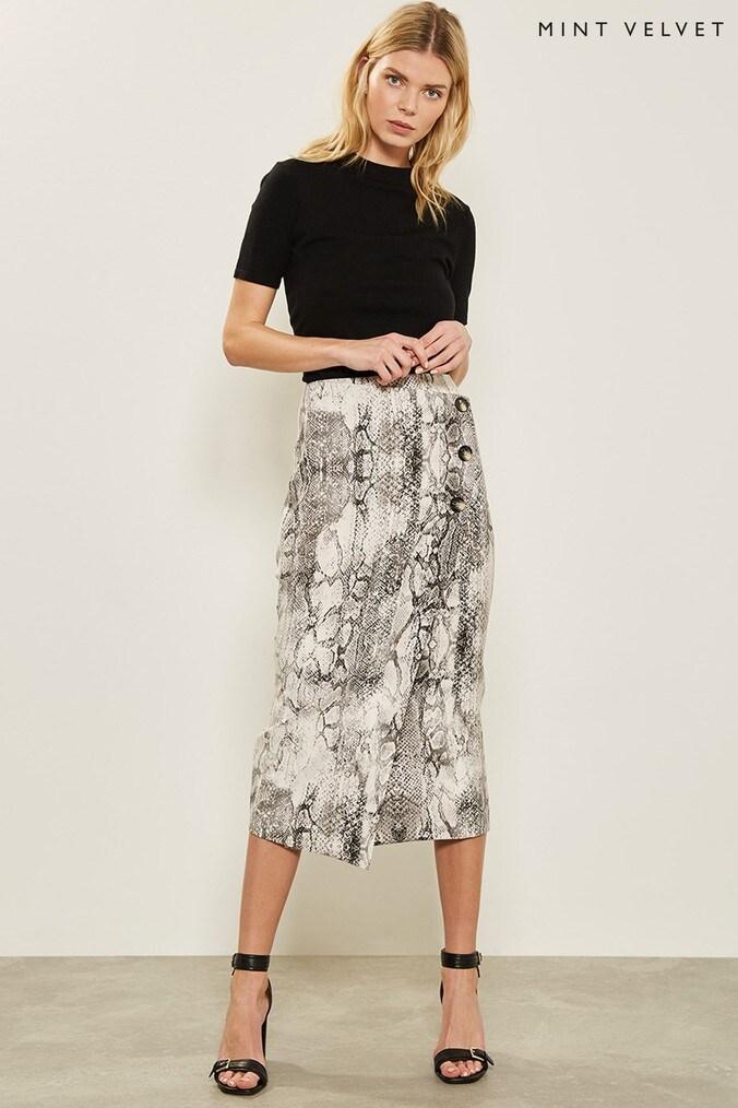 Womens Mint Velvet Natural Sasha Print Pencil Skirt -  Natural