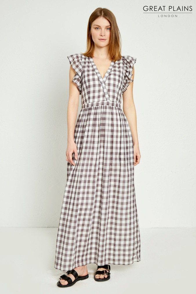 Womens Great Plains Grey Gem Gingham V-Neck Maxi Dress -  Grey