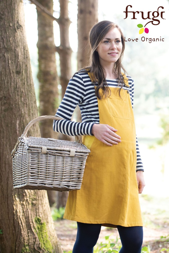 Womens Frugi Organic Yellow Maternity Cord Pinafore -  Yellow