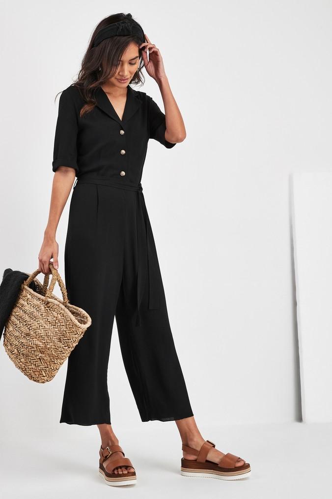 Womens Next Black Culotte Button Jumpsuit -  Black