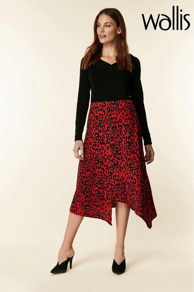 Womens Wallis Red Animal Print Midi Hanky Hem Skirt -  Red