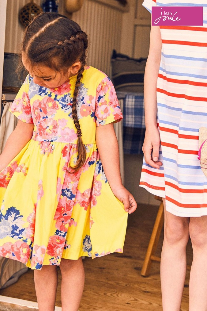 Girls Joules Yellow Martha Woven Printed Dress -  Yellow
