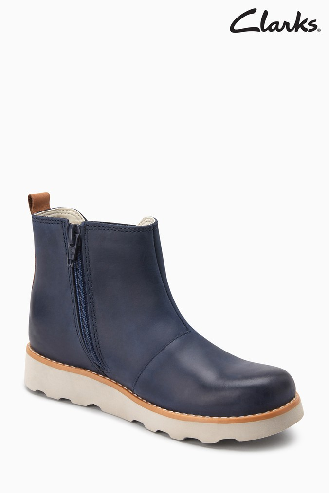 a73569e8c7a3a0 Boys Clarks Navy Leather Crown Halo Gusset Toddler Ankle Boot - Blue - Next  at Westquay - Shop Online
