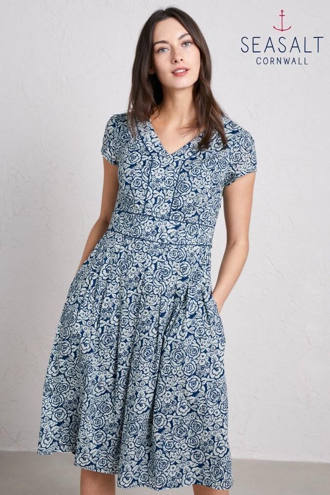 Womens Seasalt Sketched Roses Light Squid Villa Garden Dress -  Blue