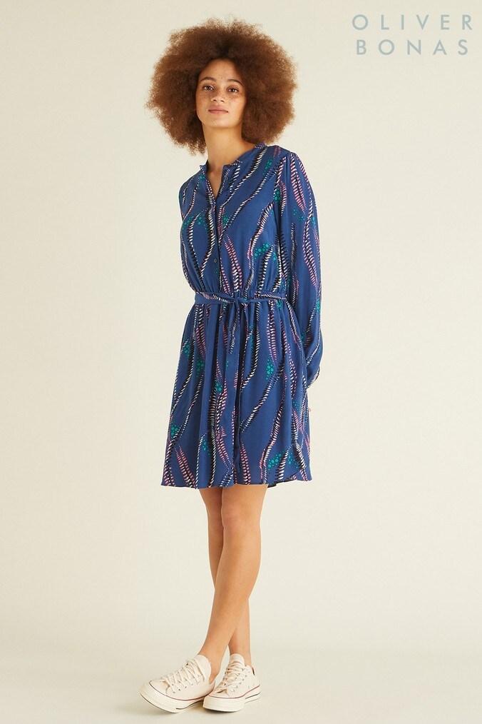 Womens Oliver Bonas Blue Feather Print Dress -  Blue