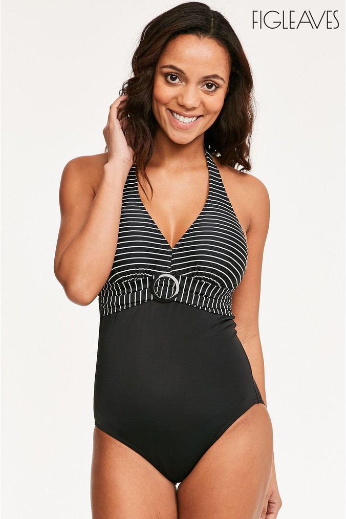 Womens Figleaves Black/White Underwired Tummy Control Longer Length Swimsuit -  Black