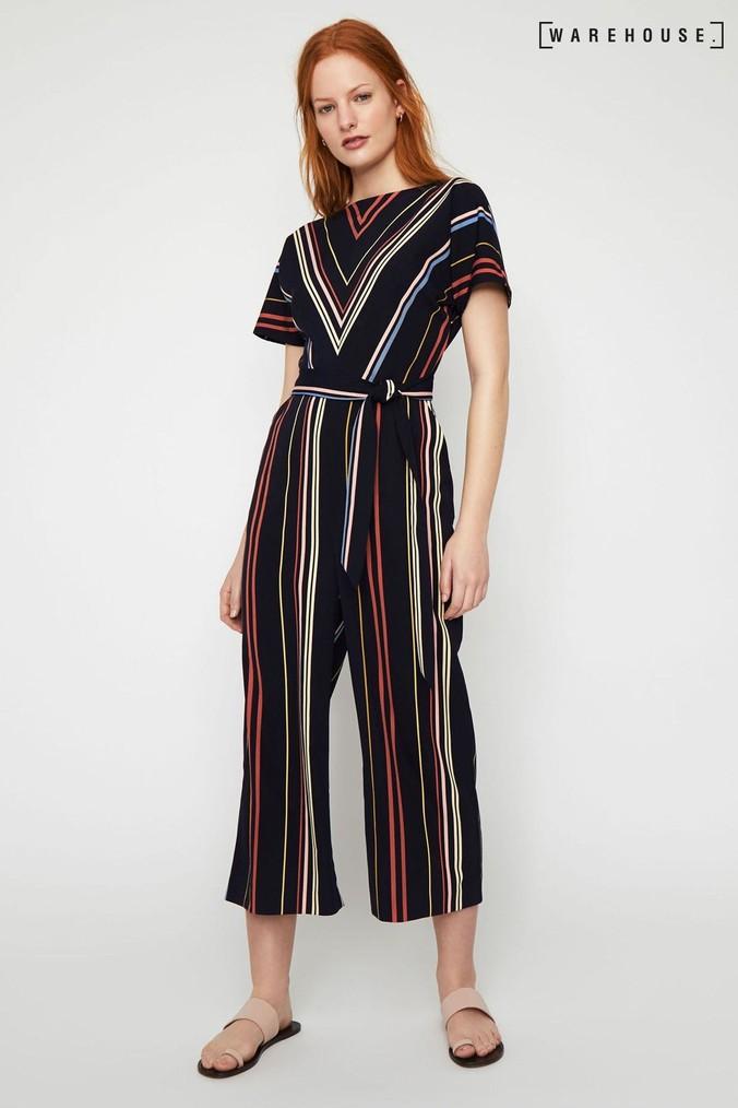 Womens Warehouse Black Multi Stripe Culotte Jumpsuit -  Black