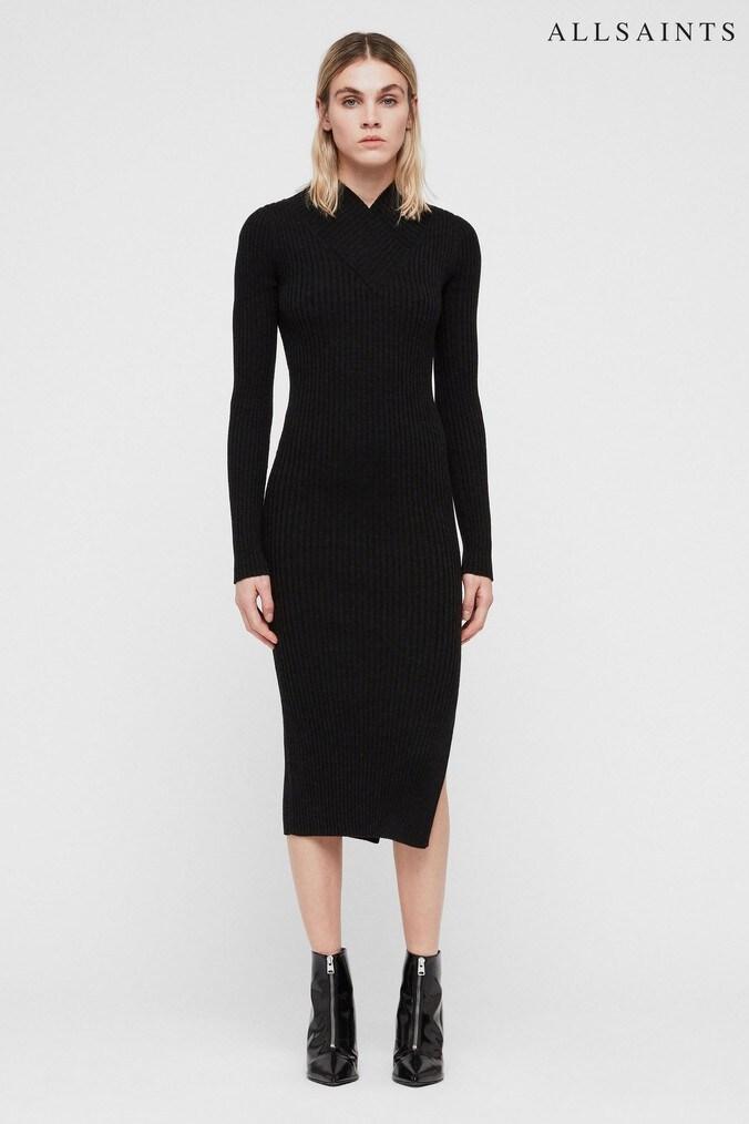 Womens All Saints Black Knitted Vries Midi Dress -  Black